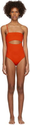 Rudi Gernreich Orange Single Strap Hardware One-Piece Swimsuit