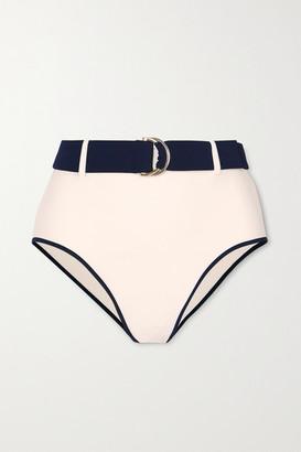ODYSSEE Azur Belted Two-tone Bikini Briefs - Cream