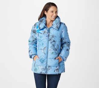 Dennis Basso Printed Water Resistant Puffer with Pillow Collar