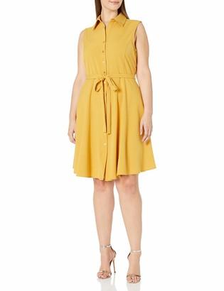 Sharagano Women's Plus Size Sleeveless Belted Shirt Dress