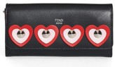 Fendi Women's Studded Heart Calfskin Wallet On A Chain - Black