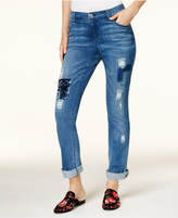 INC International Concepts Petite Velvet-Patch Boyfriend Jeans, Created for Macy's