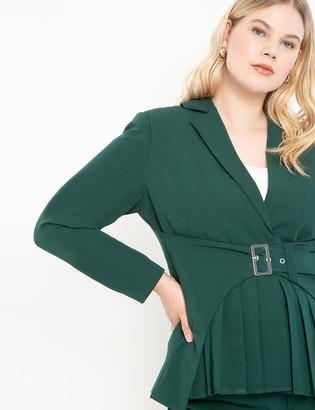 ELOQUII Belted Blazer with Pleat Detail