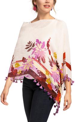 Spartina 449 Women's Ponchos - Ivory & Purple Floral Stripe Linen-Blend Tassel-Trim Poncho