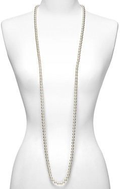 Majorica Women's 8mm Round White Simulated Pearl Endless Necklace, 60