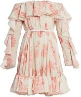 Giambattista Valli Off-The-Shoulder Ruffle Silk Dress