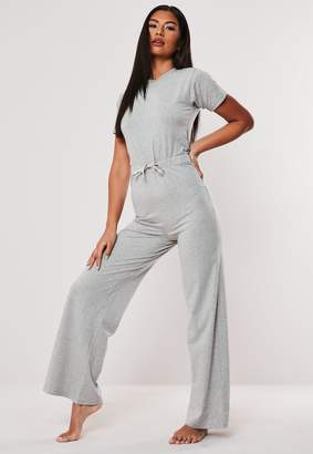 Missguided Grey Cap Sleeve Ribbon Drawstring Loungewear Jumpsuit