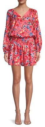 Parker Floral-Print Smocked Mini Dress