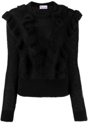 RED Valentino Loose-Knit Ruffled Jumper