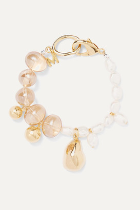 Mounser Gold-plated Glass And Pearl Bracelet - one size