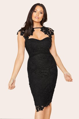 Jessica Wright Sistaglam Loves Mazzie Black lace sweetheart bodycon dress