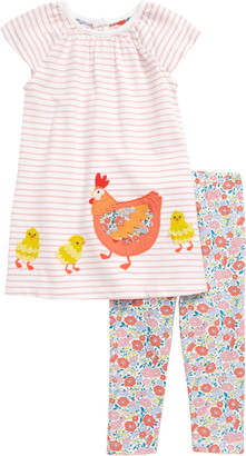 Chicken Big Applique Dress & Leggings Set