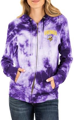 New Era Women's Purple Minnesota Vikings Tie Dye Fleece Full-Zip Hoodie