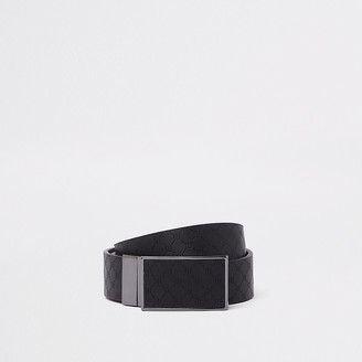 River Island Black RI monogram reversible buckle belt