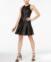 MICHAEL Michael Kors Perforated Faux-Leather Fit & Flare Dress