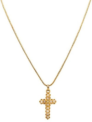 Stephanie Windsor Victorian 18K Yellow Gold & Diamond Cross Necklace
