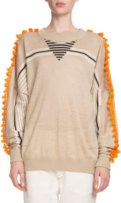 Loewe Pompom-Trim Crewneck Striped Linen-Cotton Sweater