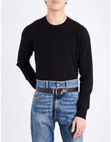 Maison Margiela Elbow Patch Knitted Cotton And Wool-blend Jumper