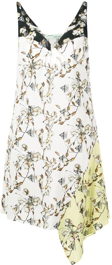 Off-White asymmetric cotton flower print dress
