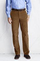 Classic Men's Plain Front Traditional Fit 18-wale Corduroy Dress Pants-Umber