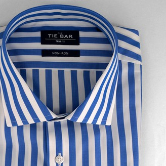 Tie Bar Cabana Stripe Royal Blue Non-Iron Dress Shirt