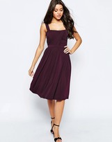 Asos Slinky Ruched Bodice Midi Dress With Wide Straps