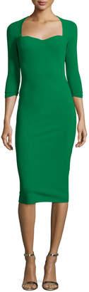 Chiara Boni Custom Collection: Serenity 3/4-Sleeve Sweetheart Knee-Length Cocktail Dress