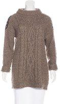 Elizabeth and James Leather-Trimmed Embellished Sweater