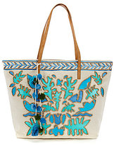 Steve Madden Steven by Tucker Wood-Beaded Canvas Tote with Pom Poms and Tassels