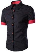 SUPPION Men's Slim Fit Contrast Short Sleeve Casual Dress Shirts (XL, )
