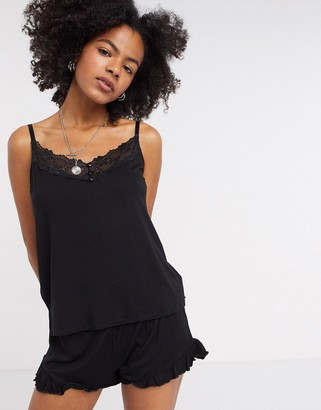 Vila lace trim pyjama cami top in black