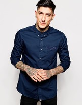 Pretty Green Shirt In Poplin With Paisley Pocket - Blue