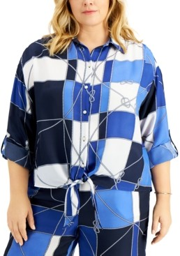 Charter Club Plus Size Printed Button-Front Cotton Top, Created for Macy's