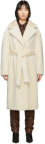 Tibi Off-White Faux-Fur Oversized Luxe Coat