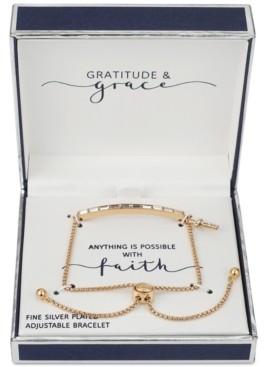 Unwritten Gratitude & Grace Crystal Baguette & Cross Charm Bolo Bracelet in Gold-Flash
