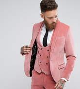 Noose & Monkey Super Skinny Suit Jacket In Velvet With Shawl