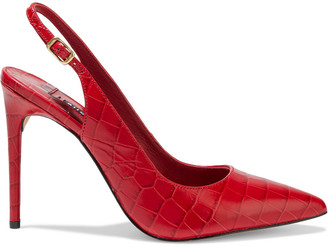 Alice + Olivia Ranay Croc-effect Leather Slingback Pumps