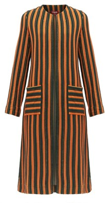 STAUD Mia Striped-terry Coat - Womens - Green Multi