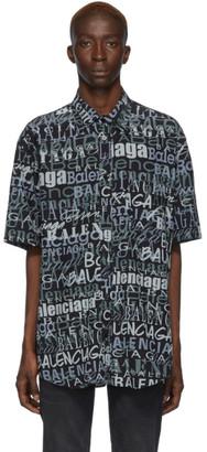 Balenciaga Black and Grey Silk Mixed Typo Shirt
