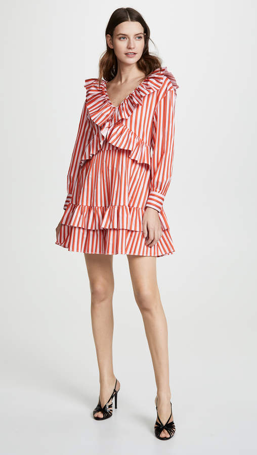 MSGM Ruffle Stripe Poplin Dress