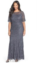 Xscape Evenings Short Sleeve Shimmer Lace Gown (Plus Size)