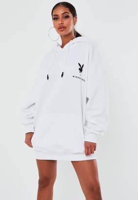 Missguided Playboy X White Slogan Oversized Hoodie Dress