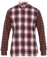 Lanvin Contrast-sleeve checked brushed-cotton shirt
