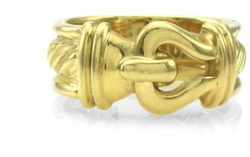 David Yurman 18K Yellow Gold Buckle Cable Ring Size 4.25