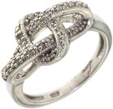 Paradise Jewelers Ladies 0.20CTW Micropave Diamond 14K White Gold-Plated Sterling Woven Knot Ring, Size 5