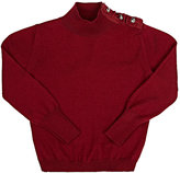 Lanvin EMBELLISHED TURTLENECK SWEATER-BURGUNDY SIZE 4