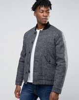 Asos Wool Mix Bomber Jacket With Borg Lining In Salt And Pepper