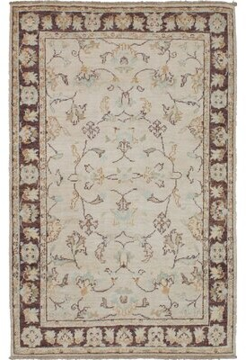 """Alegria Canora Grey One-of-a-Kind Hand-Knotted 3'4"""" x 5'4"""" Wool Cream Area Rug Canora Grey"""