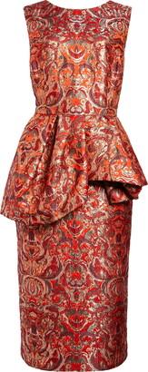 Dries Van Noten Depla Metallic Brocade Peplum Sheath Dress