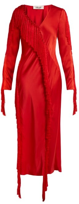 Diane von Furstenberg V Neck Fringed Dress - Womens - Red